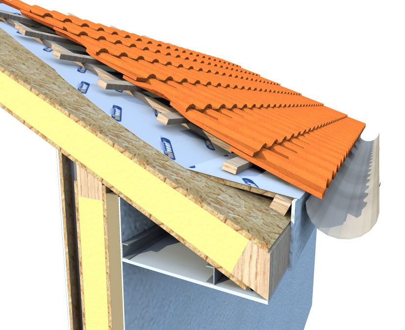 3 dimensional construction cut through detail of a roof