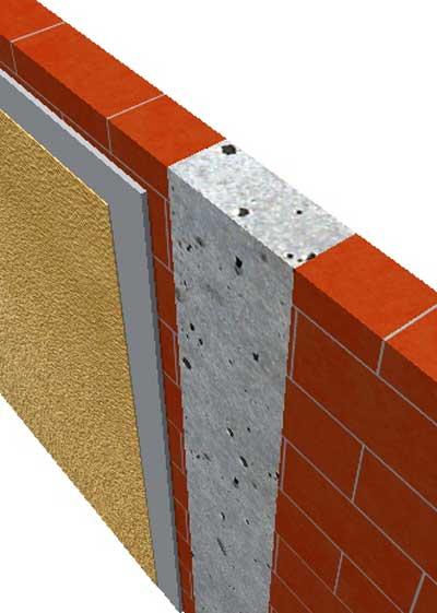 A construction detail image showing concrete column, brickwork and render