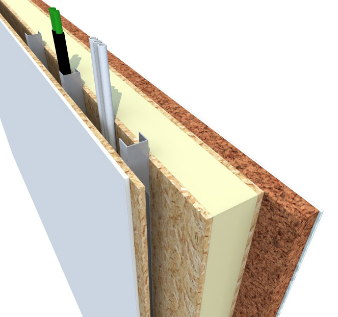 3 dimensional construction cut through detail of a wall