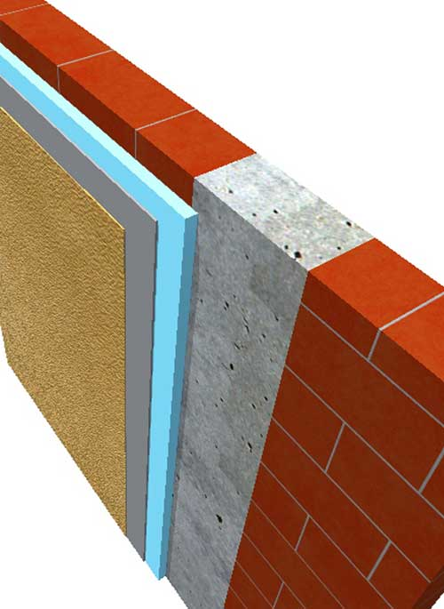 a construction detal showing a concrete column, brickwork, insulation and render