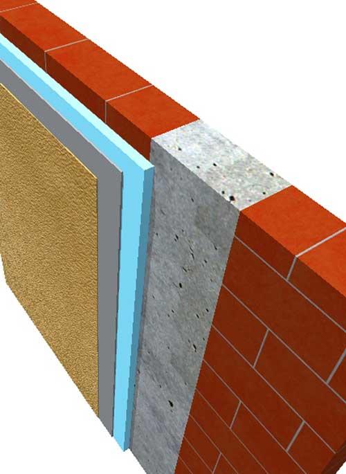 a construction detal showing a concrete column, brickwork, insulation and render