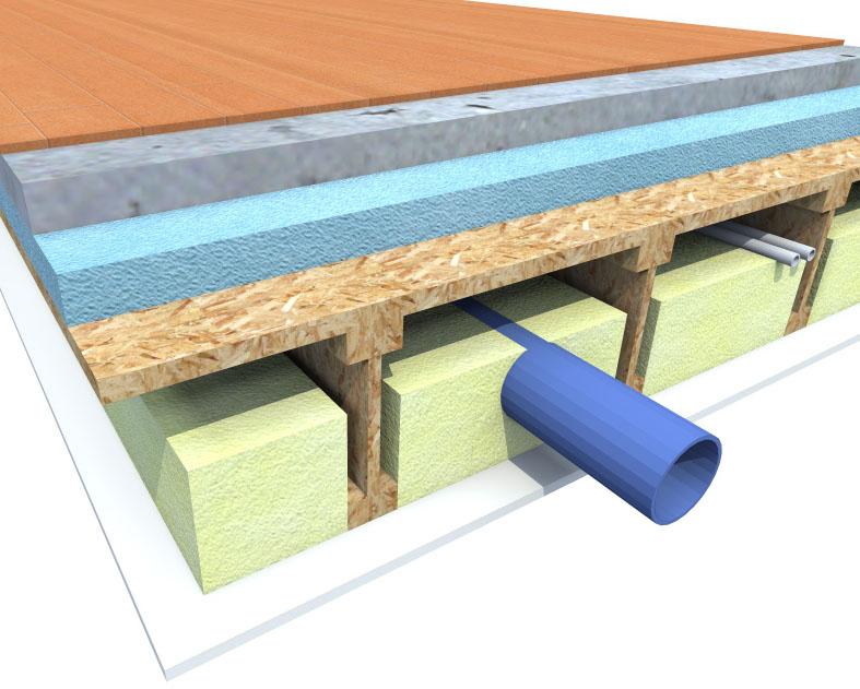 3 dimensional construction cut through detail of a floor