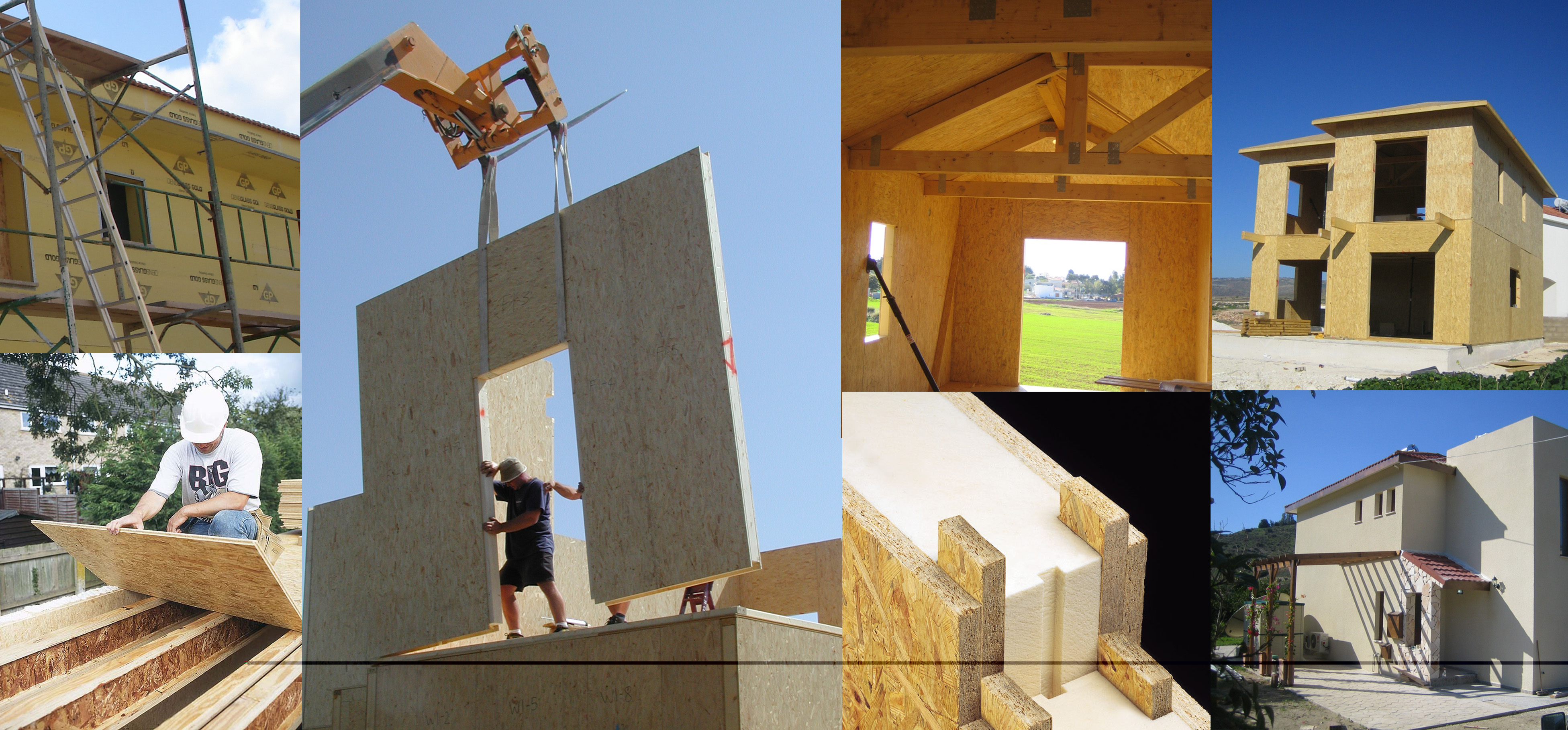 Collage of images showing large timber panels being constructed in a timber frame house.
