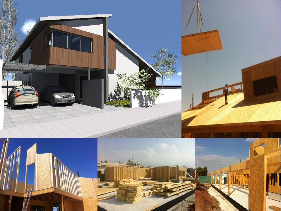 A collage of the construction of a modern house showing timber panels and SIPs