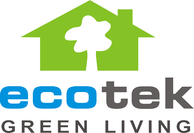 Ecotek Green Living house logo with tree in it and text underneath