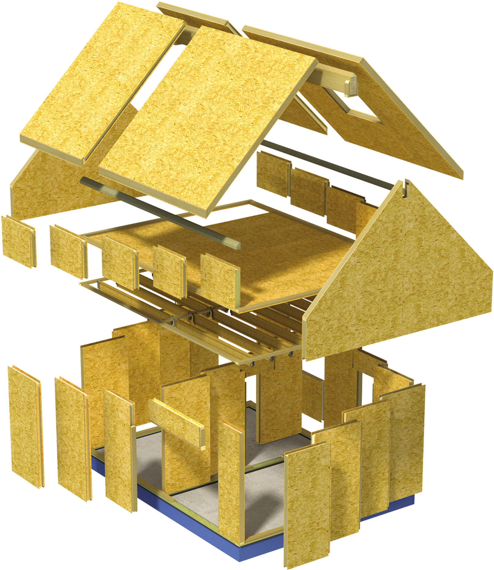 Exploded view of a SIPs house in component form.