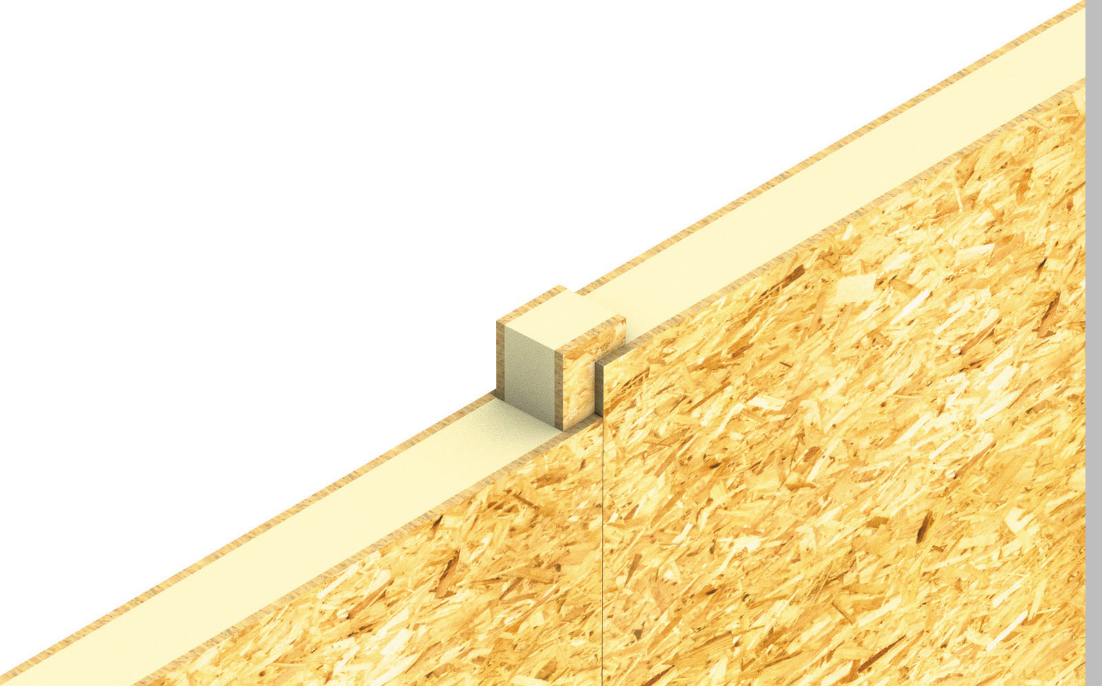 A three dimensional view of the joint between two timber panels