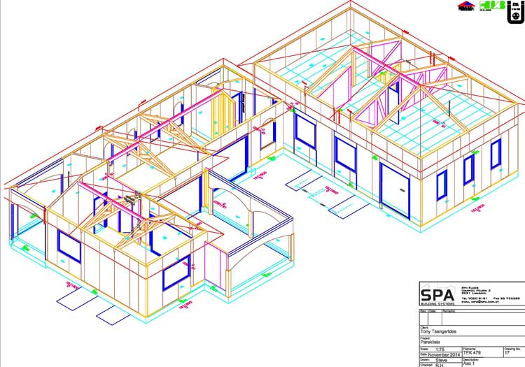 A three dimensional line drawing showing a conceptual house in vivid colours.