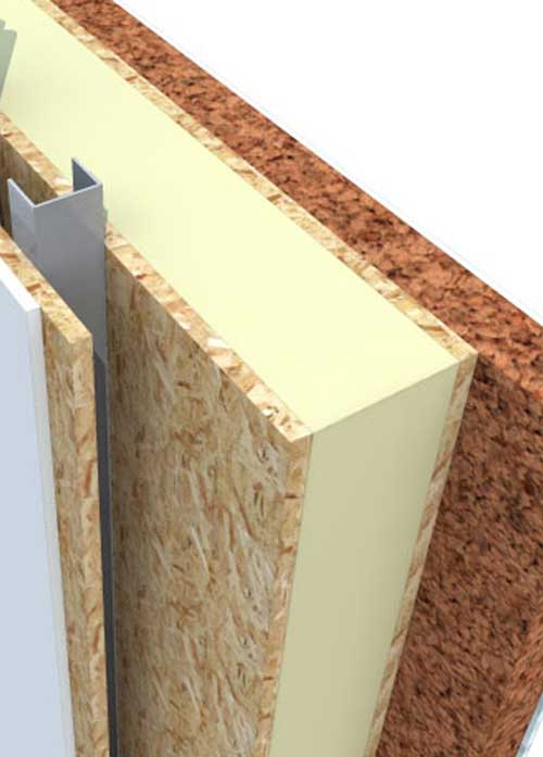 a wall detail showing a Sip panel with external insulation and internal plasterboard