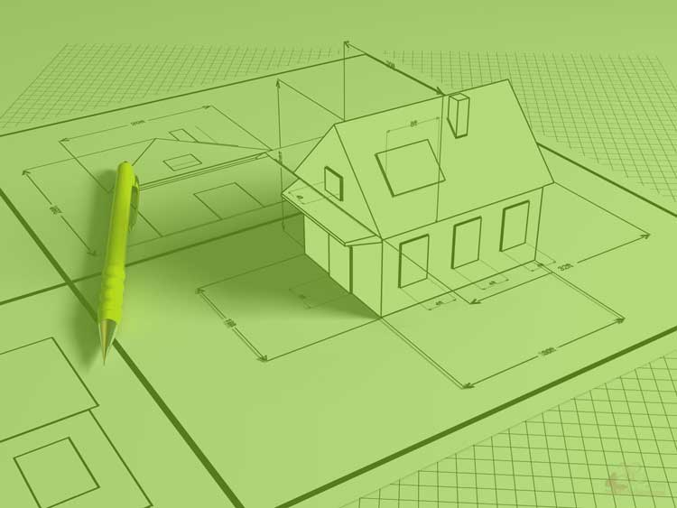 A drawing of a three dimension house extruded from a two dimensiona house drawing with a pen.