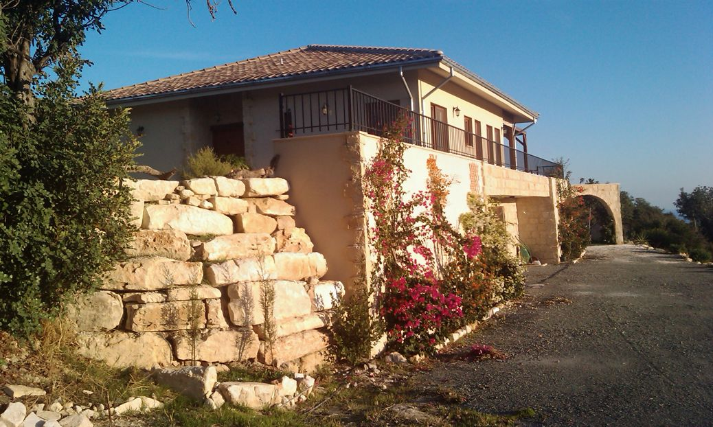 village design house with large stone wall and climbing plants