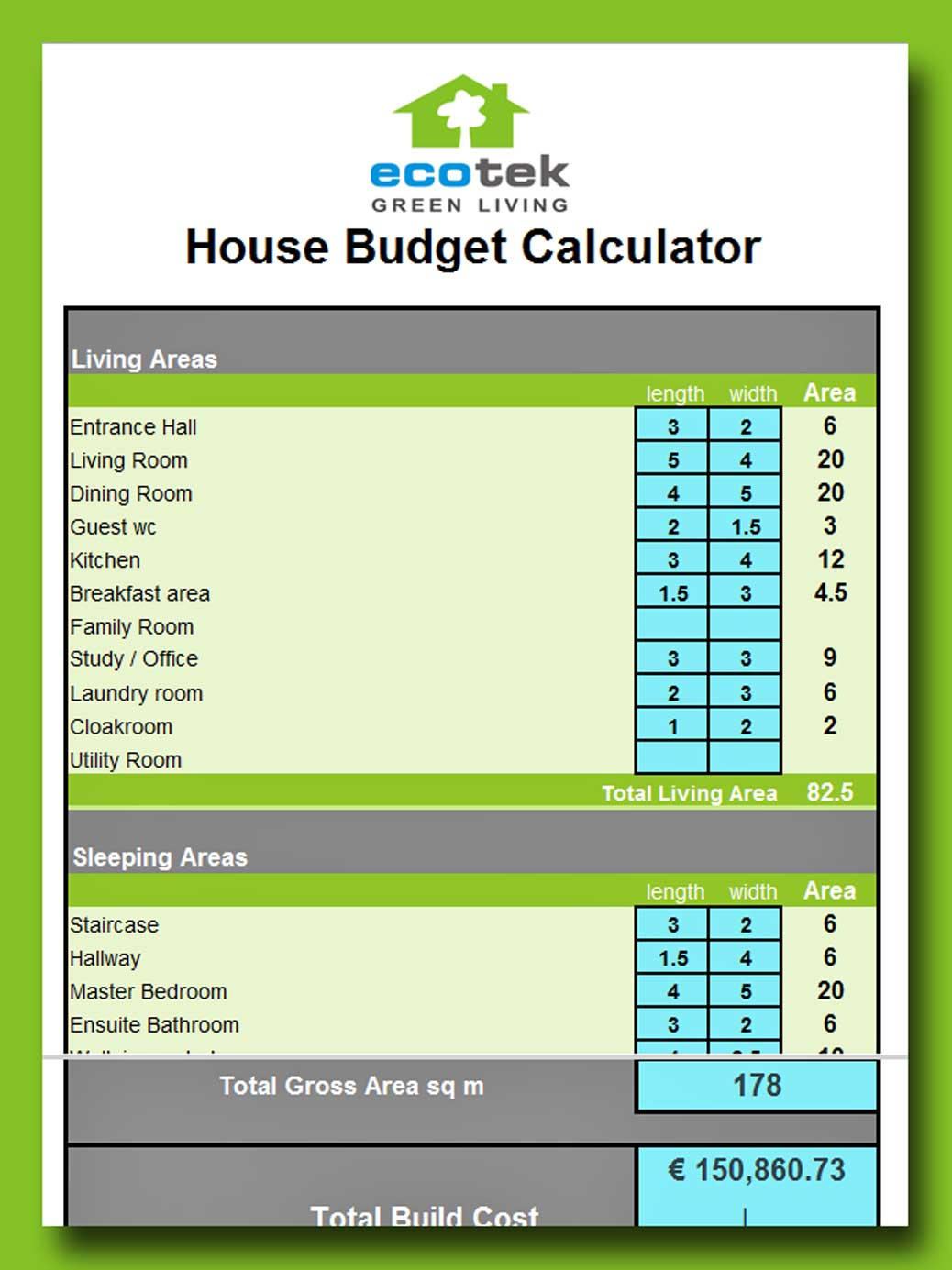 A spreadsheet in vivid colours to help clients determe their build budgets.